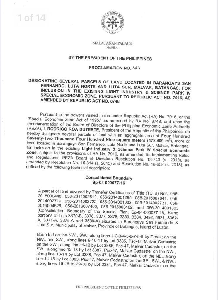 Presidential Proclamation No. 843
